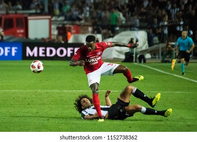 Thessaloniki, Greece - August 8, 2018. FC Spartak Moscow player Quincy Promes in action during a soccer match between PAOK FC and Spartak Moscow for the third qualifying round of the Champions League.