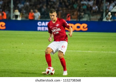 Thessaloniki, Greece - August 8, 2018. FC Spartak Moscow player Roman Zobnin in action during a soccer match between PAOK FC and Spartak Moscow for the third qualifying round of the Champions League.