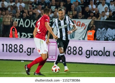 Thessaloniki, Greece - August 8, 2018. PAOK FC striker Aleksandar Prijovic (Right)in action during a soccer match between PAOK FC and FC Spartak Moscow for the Champions League third qualifying round.