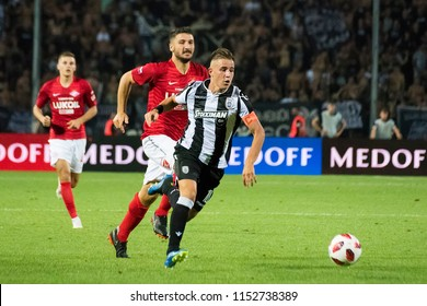 Thessaloniki, Greece - August 8, 2018. PAOK FC Dimitris Pelkas in action during a soccer match between PAOK FC and FC Spartak Moscow for the third qualifying round of the UEFA Champions League.
