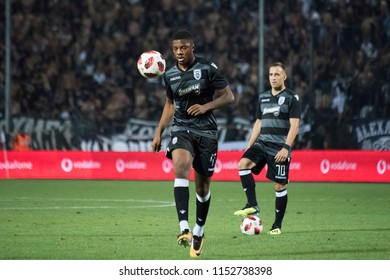 Thessaloniki, Greece - August 8, 2018. PAOK FC player Chuba Akpom warms up during a soccer match between PAOK FC and Spartak Moscow for the third qualifying round of the Champions League.