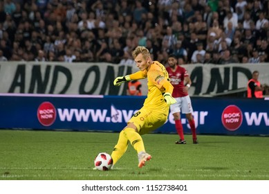 Thessaloniki, Greece - August 8, 2018. FC Spartak Moscow player Aleksandr Maksimenko in action during a soccer match between PAOK FC and Spartak Moscow for the Champions League third qualifying round.