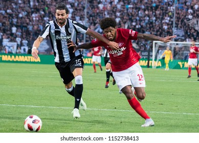 Thessaloniki, Greece - August 8, 2018. FC Spartak Moscow player Luiz Adriano (Right) in action during a soccer match between PAOK FC and Spartak Moscow for the Champions League third qualifying round.