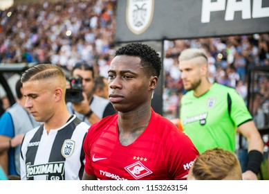 Thessaloniki, Greece - August 8, 2018. FC Spartak Moscow player Quincy Promes (Middle) before during a soccer match between PAOK FC and Spartak Moscow for the Champions League third qualifying round.