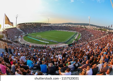 Thessaloniki, Greece - August 8, 2018: View of the full stadium behind fans during the UEFA Champions League Third qualifying round , between PAOK vs FC Spartak Moscow at Toumba Stadium