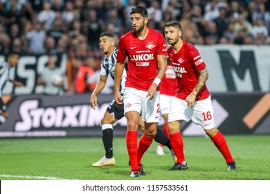 Thessaloniki, Greece - August 8, 2018: Player of Spartak Samuel Gigot in action during the UEFA Champions League Third qualifying round , between PAOK vs FC Spartak Moscow at Toumba Stadium