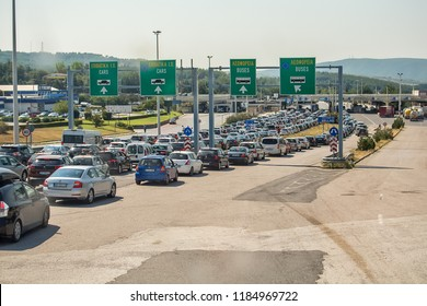Thessaloniki, Greece - August 8, 2018: A traffic jam at the Greek border crossing