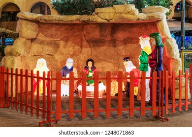 Thessaloniki, Greece Christmas 2018 crib at Aristotelous square. Night view of illuminated nativity scene at the central city square.