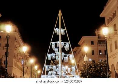 Thessaloniki, Greece Christmas 2018 decorations at Aristotelous square. Night view of illuminated tree construction with lights at the central city square.