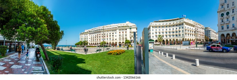 THESSALONIKI, GREECE - Circa AUGUST, 2018: Aristotelous square in Thessaloniki panorama during sunny summer day with less than usual number of people. Aristoteles plaza in Thessaloniki Greece.
