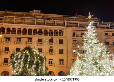 Thessaloniki, Greece - December 02 2018: Christmas 2018 decorations at Aristotelous square. Night view of the main illuminated tree at the central city square.