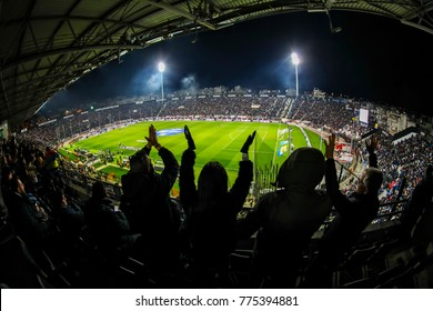 Thessaloniki, Greece - December 10, 2017 : Interior view of the full at Toumba Stadium full of fans and supporters of PAOK  during the Greek Superleague match PAOK vs Panathinaikos