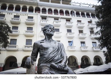 Thessaloniki, Greece - December 16, 2016. View of Aristotle ancient Greek philosopher and scientist statue, in Aristotelous Square at the northern Greek city of Thessaloniki.