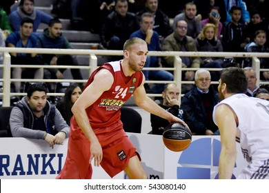 Thessaloniki, Greece - December 18, 2016. Player of Olympiakos BC Matt Lojeski in action, during a Greek Basket League game between PAOK and Olympiakos, at the northern Greek city of Thessaloniki.