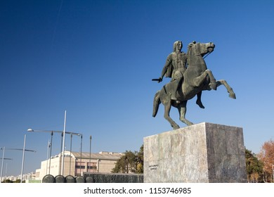 THESSALONIKI, GREECE - DECEMBER 24, 2015: Statue of Alexander the Great, in Thessaloniki, in the Greek Macedonia. Also known as Alexandros o Megas, he was a ancient Macedonian emperor