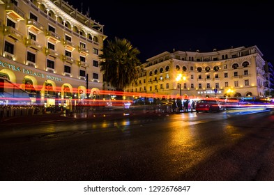 Thessaloniki Greece, December 28 2018-View of the Aristotelous square, the famouse square of thessaloniki located on Nikis avenue on the city's waterfront.