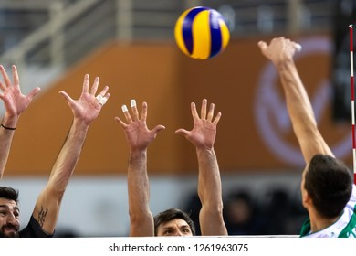 Thessaloniki, Greece - December 5, 2018: Closeup of hands and ball during the CEV Volleyball Cup game between Paok vs Indykpol AZS Olsztyn at PAOK Sports Arena.