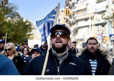 Thessaloniki, Greece - December 8, 2016. Protesters shout slogans as they march at the city of Thessaloniki. Greek Labour Unions called a 24 hour nationwide strike to protest against austerity policy.