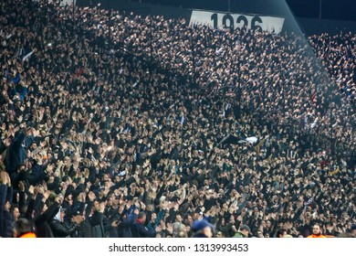 Thessaloniki, Greece - February 10, 2019: View of fans of PAOK  during Greek Superleague match between PAOK and Olympiacos played at Toumba stadium