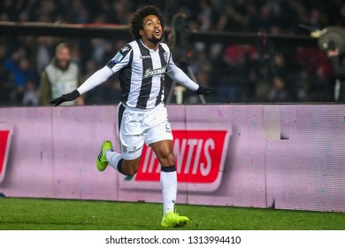 Thessaloniki, Greece - February 10, 2019: Player of Paok Diego Biseswar celebrates during a Greek Superleague soccer match between PAOK and Olympiacos played at Toumba stadium