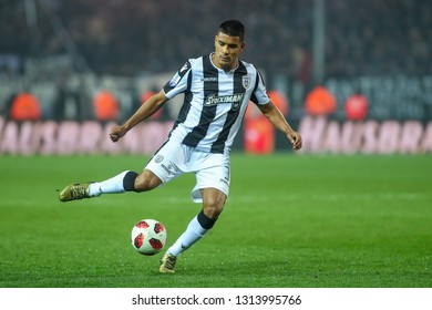 Thessaloniki, Greece - February 10, 2019: Player of Paok Leo Matos in action during a Greek Superleague soccer match between PAOK and Olympiacos played at Toumba stadium