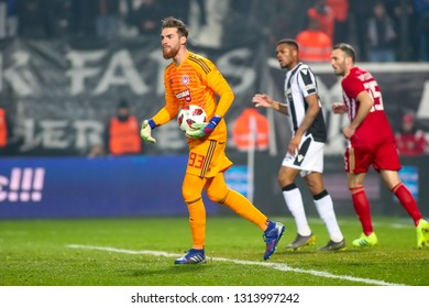 Thessaloniki, Greece - February 10, 2019: Goalkeeper of Olympiacos Jose Sa in action during a Greek Superleague soccer match between PAOK and Olympiacos played at Toumba stadium