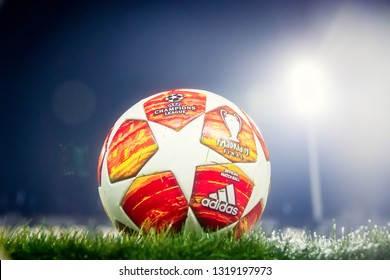 Thessaloniki, Greece - February 19, 2019: Official Champions League football ball in the field before the match UEFA Youth League for second round between  Paok - Tottenham at Toumba stadium