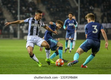 Thessaloniki, Greece - February 19, 2019: Undefined players in action during the match UEFA Youth League for second round between Paok - Tottenham at Toumba stadium