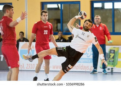 Thessaloniki, Greece - February 24, 2018: Undefined handball player in action during the Greek handball Championship between the teams Paok vs Philip at PAOK sports arena