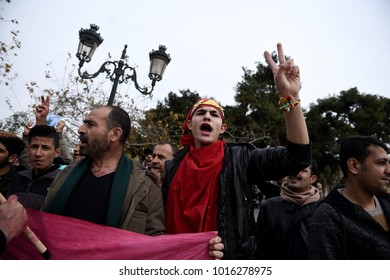 Thessaloniki, Greece - February 3, 2018. Kurdish people chant slogans during a protest against Turkish military operations in the Kurdish-majority Afrin canton in northern Syria.