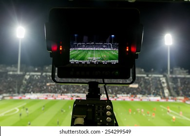 THESSALONIKI, GREECE FEBRUARY 8, 2015 : View of the full stadium behind the TV media broadcasting during the Greek Superleague match PAOK vs Olympiacos
