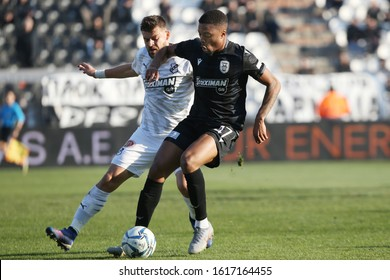 Thessaloniki, Greece - Jan 15, 2020. PAOK FC player Chuba Akpom (Right) in action during a soccer match between PAOK FC and OFI FC for the Greek Soccer Cup.