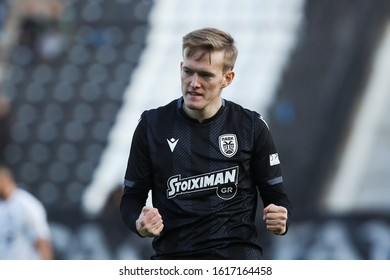 Thessaloniki, Greece - Jan 15, 2020. PAOK FC player Karol Swiderski celebrates after scoring a goal during a soccer match between PAOK FC and OFI FC for the Greek Soccer Cup.