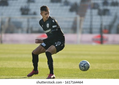 Thessaloniki, Greece - Jan 15, 2020. PAOK FC player Dimitris Giannoulis in action during a soccer match between PAOK FC and OFI FC for the Greek Soccer Cup.