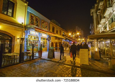 THESSALONIKI - GREECE, JAN 2017: The famous Ladadika neighborhood in Thessaloniki is a beautiful walkable area which is one of the favorite destinations for local tourist visitors and students as well