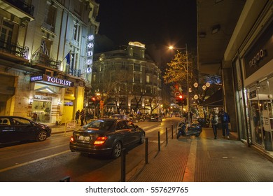 THESSALONIKI - GREECE, JANUARY 2017: Streets of Thessaloniki decorated for Christmas. Thessaloniki is the 2nd largest city in Greece and the capital of Greek Macedonia.