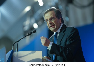 THESSALONIKI, GREECE JANUARY 21, 2015: Prime Minister Antonis Samaras visits Thessaloniki to give his pre elections speech five days before the elections for the National elections.