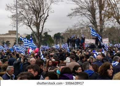 "Thessaloniki, Greece - January 21 2017: Rally protest against the use of Macedonia in FYROM name dispute. Thousands of people gathered at Greece's second largest city to proclaim ""Macedonia is Greek""."