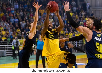 Thessaloniki, Greece, January 27 2016: Jerel Mcneal of Aris in action during the Eurocup game Aris vs Alba Berlin in Nick Galis hall