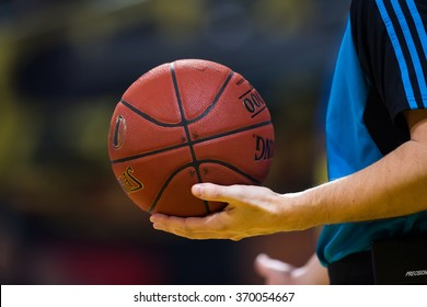 Thessaloniki, Greece, January 27 2016:  Close-up of a baskeball on the ground during the Eurocup game Aris vs Alba Berlin in Nick Galis hall