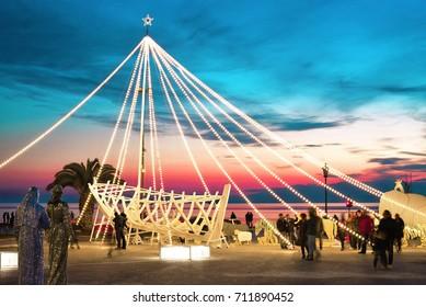 THESSALONIKI, GREECE - JANUARY 3, 2017: Christmas Decorations on Aristotelous Square of Thessaloniki after Sunset