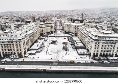 Thessaloniki, Greece - January 5, 2019: Aerial view of famous snowy Aristotelous Square in Thessaloniki city, Greece. The square is a popular spot for tourists and locals