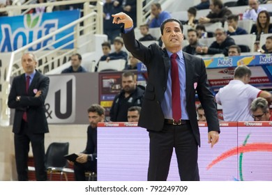 Thessaloniki, Greece, January 7, 2018: The coach of Olympiacos Ioannis Sfairopoulos in action during the Greek Basket League game Paok vs Olympiacos in Paok Sports Arena Stadium