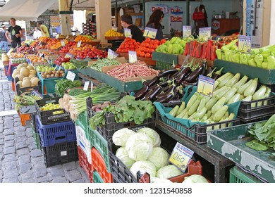 Thessaloniki, Greece - July 01, 2011: Fresh Vegetables and Fruits at Modiano Farmers Market in Thessaloniki, Greece.