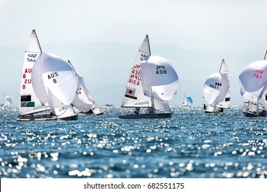 """Thessaloniki, Greece - July 12, 2017: Athletes yachts in action during """"2017 Men's 470 World Championship"""" class sailing"""