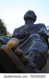 Thessaloniki, Greece: july 14, 2017  - View of Aristotle ancient Greek philosopher and scientist statue, in Aristotelous Square at the northern Greek city of Thessaloniki.