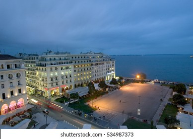 Thessaloniki, Greece, July 20 2016  Aerial view of Aristotelous Square in Thessaloniki, Greece