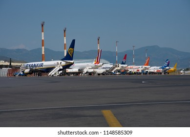 THESSALONIKI / GREECE - JULY 2018 Line up of mosty low cost carrier ariplanes at Thessaloniki Airport. Ryanair Eurowings, Air Serbia, EasyJet, Ellinair, WizzAir....