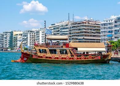 Thessaloniki, Greece - July 2019:  Cruise boat in Thessaloniki