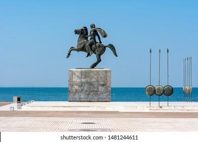 Thessaloniki, Greece - July 2019: Monument of Alexander the Great on Thessaloniki embankment